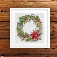 {en:Christmas Wreath cross stitch pattern;}