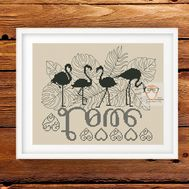 Flamingo Cross stitch pattern Love}