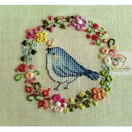 Floral Embroidery pattern Tiny Bird