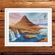 Landscape Cross Stitch Pattern Iceland framed