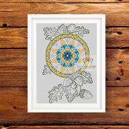 Mandala Cross stitch pattern Floral Acorns}