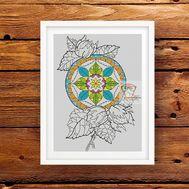 Mandala cross stitch pattern Floral Hazelnuts}