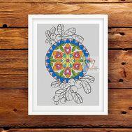 Mandala cross stitch pattern Floral Lingonberry}