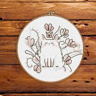 Marshmallow King Cat Baby Cross stitch pattern}
