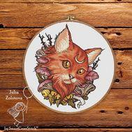 Moon Cat cross stitch Pattern  framed