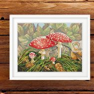 Mushroom cross stitch pattern Fly agaric}