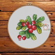 Nature Cross stitch pattern Lingonberry}