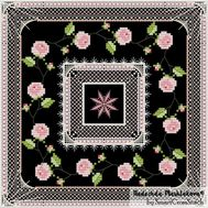 {en:Ornament cross stitch pattern Roses on Black;}