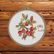 Plant Cross stitch pattern Rosehip Berries}