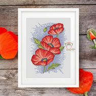 Poppy cross stitch flower pattern