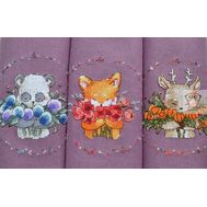 Round Cross stitch pattern 3 Cute Baby Animals}