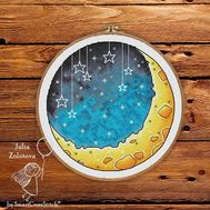 Round cross stitch pattern Starry Night