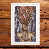 Fairy cross stitch pattern Tree House