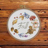 Wreath Cross stitch pattern Autumn Leaves}