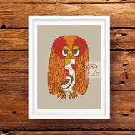 Autumn Owl Free cross stitch pdf pattern