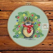 Free Totoro Cross Stitch pattern download Xmas chart