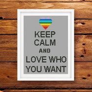 Keep Calm and Love Who You Want' cross stitch pattern