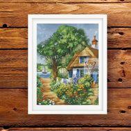 Summer Cross stitch pattern House at the Lake