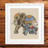 Animalistic Cross stitch pattern Elephants Family}