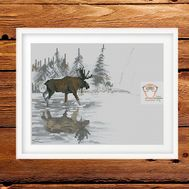 Animalistic Cross stitch pattern Elk}