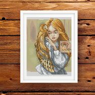 Baby Cross stitch pattern Girl with Owl}