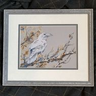 Bird cross stitch pattern White Raven}