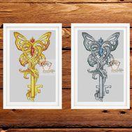 Butterfly Key Fantasy Cross stitch pattern}