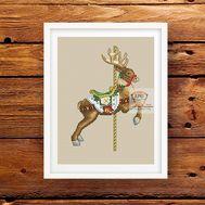 Christmas Cross stitch pattern Rocking deer}