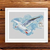 Cross stitch pattern Seagull Flying}