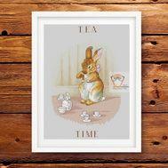 Cute Cross stitch pattern Tea Time}