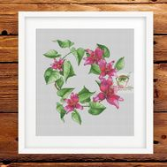 Floral Cross stitch pattern Lilies Wreath}