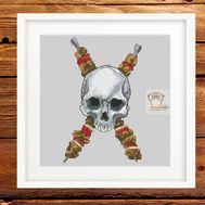Funny cross stitch pattern Skull Barbecue}