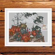 Gothic cross stitch pattern Halloween}