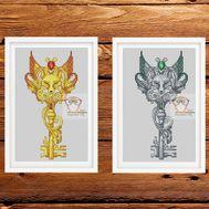 Key Cross stitch pattern Fox Fantasy}