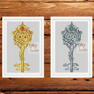 Key Cross stitch pattern Owl Fantasy}