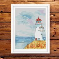 Marine Cross stitch pattern Lighthouse}