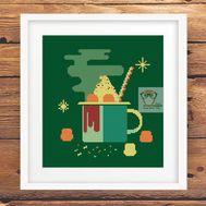 Marshmallow cocoa mug funny cross stitch chart