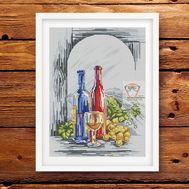 Modern Cross stitch pattern Wine Still Life}