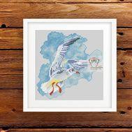 Modern cross stitch pattern Seagull & Wind}