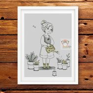 Nursery Cross stitch pattern Girl with a watering can}