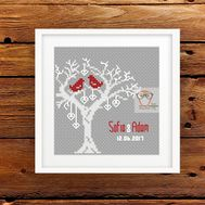 Wedding cross stitch pattern Tree of Love sampler
