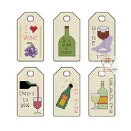 Wine Gift Tags label cross stitch pattern