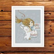 Girl with Bunny cute cross stitch pattern