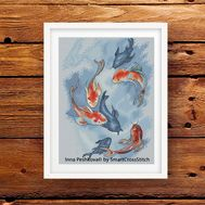 Carp Koi cross stitch pattern framed