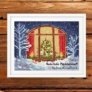Christmas Window cross stitch pattern