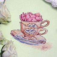 Roses in the cup cross stitch pattern ready stitched work