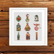 Fantasy cross stitch chart Magic Bottles Set