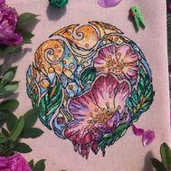 Floral Cross stitch pattern Dogrose pdf pattern}