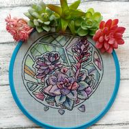 Floral Cross stitch pattern Succulents pdf pattern}