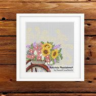 Flower Bicycle Free Cross Stitch Pattern